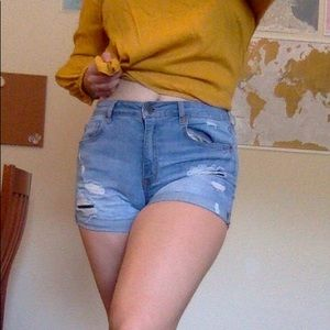 Aeropostale Ripped High Waisted Jean Shorts